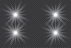 Белый накаляя светлый взрыв взрыва с прозрачным Иллюстрация вектора для холодного украшения влияния с лучем сверкнает Яркое sta Стоковое Изображение RF