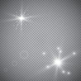 Белый накаляя светлый взрыв взрыва с прозрачным Иллюстрация вектора для холодного украшения влияния с лучем сверкнает Яркое sta Стоковые Изображения RF
