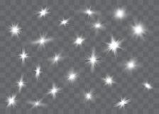 Белый накаляя свет взрывает на прозрачной предпосылке : o Прозрачное сияющее солнце, иллюстрация вектора