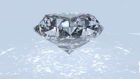 Белый отснятый видеоматериал рассеивания диаманта Вращение причудливого диаманта цвета оживленное сток-видео