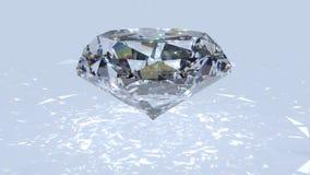 Белый отснятый видеоматериал рассеивания диаманта Причудливый диамант цвета на белой предпосылке Стоковая Фотография