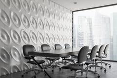 Белый панорамный угол конференц-зала, серые стулья иллюстрация вектора