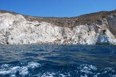 Белый пляж, белый пляж Santorini Стоковое фото RF