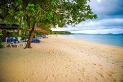 Белый пляж в провинции Королевстве Камбоджи Kong Koh Стоковые Фото