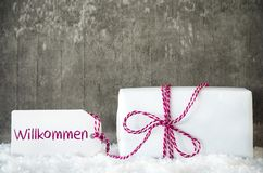 Белый подарок, снег, ярлык, гостеприимсво середин Willkommen Стоковые Фото