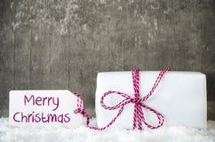 Белый подарок, снег, ярлык, отправляет СМС с Рождеством Христовым Стоковое Изображение RF
