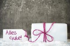 Белый подарок, снег, ярлык, Alles Gute значит наилучшие пожелания Стоковое Изображение RF