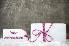 Белый подарок, снег, ярлык, Frohe Weihnachten значит с Рождеством Христовым Стоковые Изображения