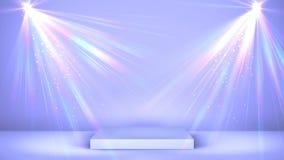 Белый подиум этапа с освещением пятна, пустой сценой для церемонии вручения премии или рекламой на светлой предпосылке looped иллюстрация штока