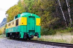 Белый поезд уходя Skagway Аляска пропуска 95 стоковые фотографии rf