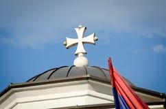 Белый правоверный византийский конец креста вверх Стоковая Фотография RF