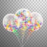Белый прозрачный воздушный шар гелия в воздухе Замороженные воздушные шары партии для дизайна события Украшения партии для дня ро Стоковое Изображение