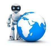 Белый робот и голубая земля бесплатная иллюстрация