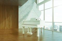 Белый рояль в большой тонизированной стороне комнаты иллюстрация вектора