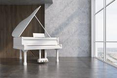 Белый рояль в конкретной и деревянной комнате бесплатная иллюстрация