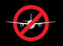 Белый самолет в знаке запрета th, виде спереди, изолированном на черной предпосылке, горизонтальная иллюстрация вектора бесплатная иллюстрация