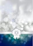 Белый смычок на a светит серебряной и голубой предпосылке иллюстрация вектора