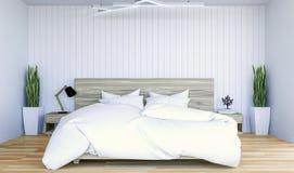 Белый современный современный интерьер спальни с spce экземпляра на стене для насмешки вверх Стоковые Фотографии RF