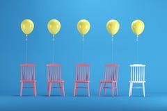 Белый стул с плавать желтые воздушные шары среди красных стульев на голубой предпосылке бесплатная иллюстрация