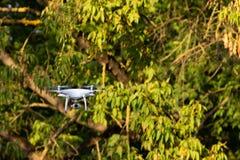 Белый трутень летания с камерой на зеленой предпосылке деревьев стоковые фотографии rf