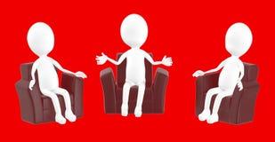 белый характер 3d, характер сидя в стуле софы и говорить иллюстрация вектора