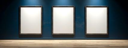 Белый холст на стене галереи Стоковое фото RF