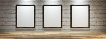 Белый холст на стене галереи Стоковые Фотографии RF
