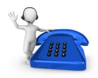 белый человек 3d с голубым старым телефоном поддержка перевода молнии hdri принципиальной схемы 3d Стоковые Фотографии RF