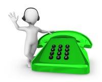 белый человек 3d с зеленым старым телефоном поддержка перевода молнии hdri принципиальной схемы 3d Стоковые Фото