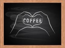 Белый чертеж мела рук делая форму сердца на дизайне классн классного школы плоском Концепция кофе влюбленности иллюстрация штока