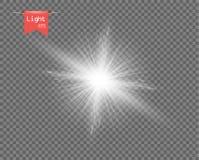 Белый ясный свет солнца Яркий взрыв, сверкная вспышка с лучами Блеск звезды Элемент вектора, изолированная предпосылка иллюстрация штока