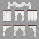 Белый drapery занавесов для wedding комнаты и окна на прозрачной предпосылке иллюстрация штока