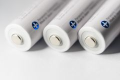 Белый Panasonic двойное перезаряжаемые батареи Стоковое фото RF