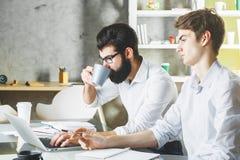 2 белых бизнесмена работая на проекте совместно Стоковое Изображение