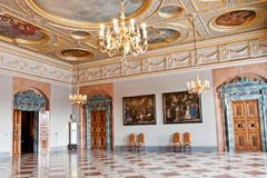 4 белых лошади Hall, Residenz, Мюнхен, Германия Стоковое Фото