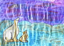 2 белых медведя, чертеж акварели ребенка иллюстрация штока