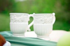 2 белых пустых чашки на таблице против зеленой предпосылки Стоковое Изображение RF