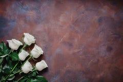 6 белых роз на красивой каменной предпосылке Космос для ярлыка Стоковое Изображение RF