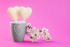 2 белых сердца конфеты шоколада на пинке Стоковые Изображения RF