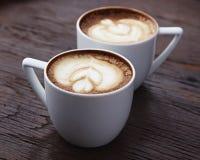 2 белых чашки кофе Стоковые Фотографии RF
