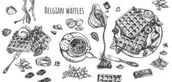 Бельгийские вафли с плодами и сладким набором напитков бесплатная иллюстрация