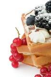 Бельгийский Waffle и ягоды Стоковое фото RF