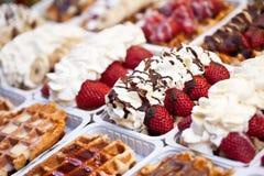 бельгийский waffle разнообразия стоковая фотография