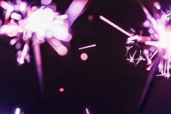 Бенгальский огонь Бенгалии сирени освещает на черной предпосылке в честь торжеств Нового Года и дня рождения рождества Стоковые Изображения RF