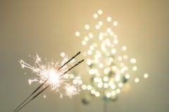 Бенгальские огни и bokeh Стоковая Фотография