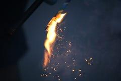 Бенгальские огни на синей предпосылке Стоковое Изображение RF