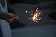 Бенгальские огни на синей предпосылке Стоковая Фотография RF