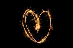 Бенгальский огонь знака сердца Стоковая Фотография