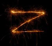 Бенгальский огонь надписи z Стоковая Фотография RF