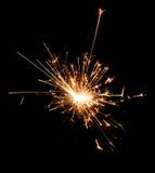 Бенгальский огонь партии рождества и Нового Года на черноте Стоковые Изображения